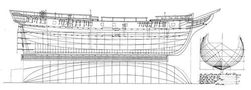 "Hacketts Originalplan, Repro aus ""Personnel ans Ships' Data"""